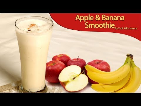 How To Make Fresh Apple Banana Milkshake At Home - Apple Banana Smoothie - Healthy Drink Recipe