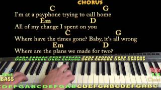 Payphone (Maroon 5) Easy Piano Cover Lesson with Chords & Lyrics