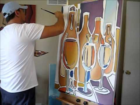 Original art wine painting creation by Thomas Fedro - Fidostudio.com