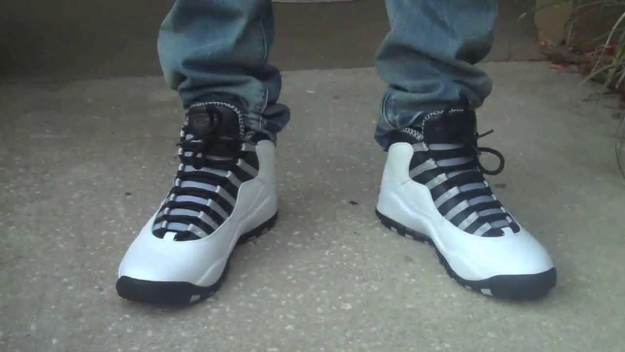 e634bf3f4ec819 Air Jordan X Steel on feet review - YouTube