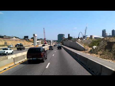 Trucking through Downtown St Louis, Missouri on Interstate 70
