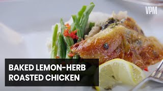 Lemon-Herb Roasted Chicken Baked in a Wood Fire Oven Served With Viognier.