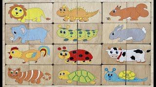 Веселые животные - Собираем пазлы для детей | Пазлы Малышам