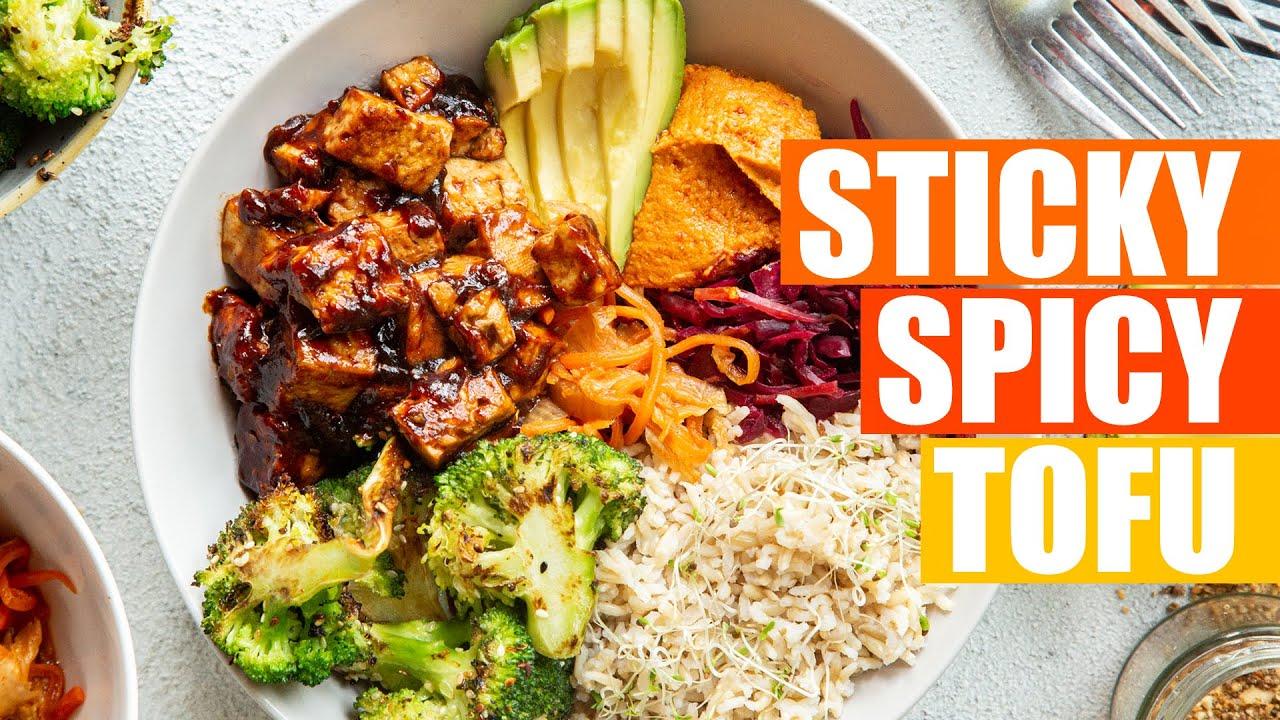 STICKY SPICY TOFU   VEGAN COMFORT FOOD