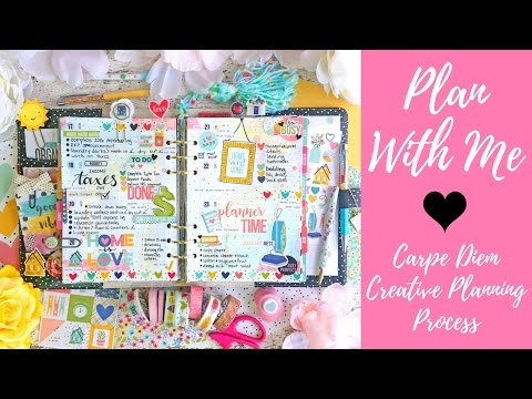 Carpe Diem Plan With Me | Creative Planning Process | Watercolor Painting A5 Planner Inserts