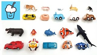 Learn animals name and sound for kids with tomica トミカ VooV ブーブ 変身