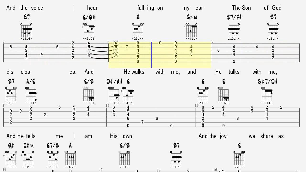 Learn Hymns On Guitar In The Garden Tablature And Chords Youtube