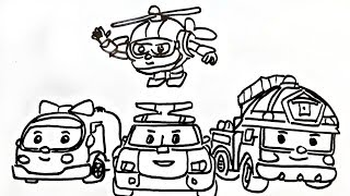 How to Draw a Police Car Robocar Poli and his friends Amber, Roy, Helly Coloring Book Fun Painting