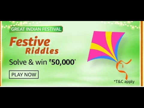 Amazon Festive Riddles Quiz Answers Solve Win Rs 50 000 Pay Balance 29th Oct To 11th Nov 2020 Youtube