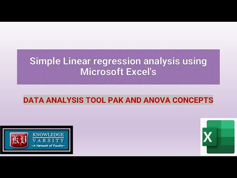 Simple Linear regression analysis using Microsoft Excel