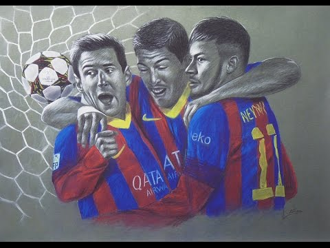 Drawing Messi, Suarez and Neymar - YouTube
