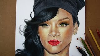 Cómo dibujar un rostro (prismacolor) - RIHANNA / How to draw a face