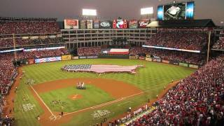 helicopter flyover world series game 4 at rangers ballpark in arlington