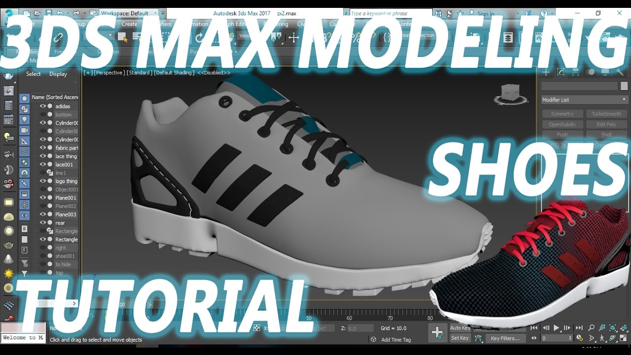 3DS MAX | SHOES | MODELING | TUTORIAL - YouTube
