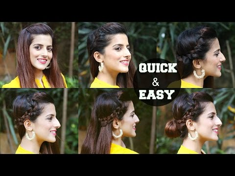 6 QUICK & EASY Indian Hairstyles For Medium To Long Hair / Perfect Side Hair Poof - No Teasing
