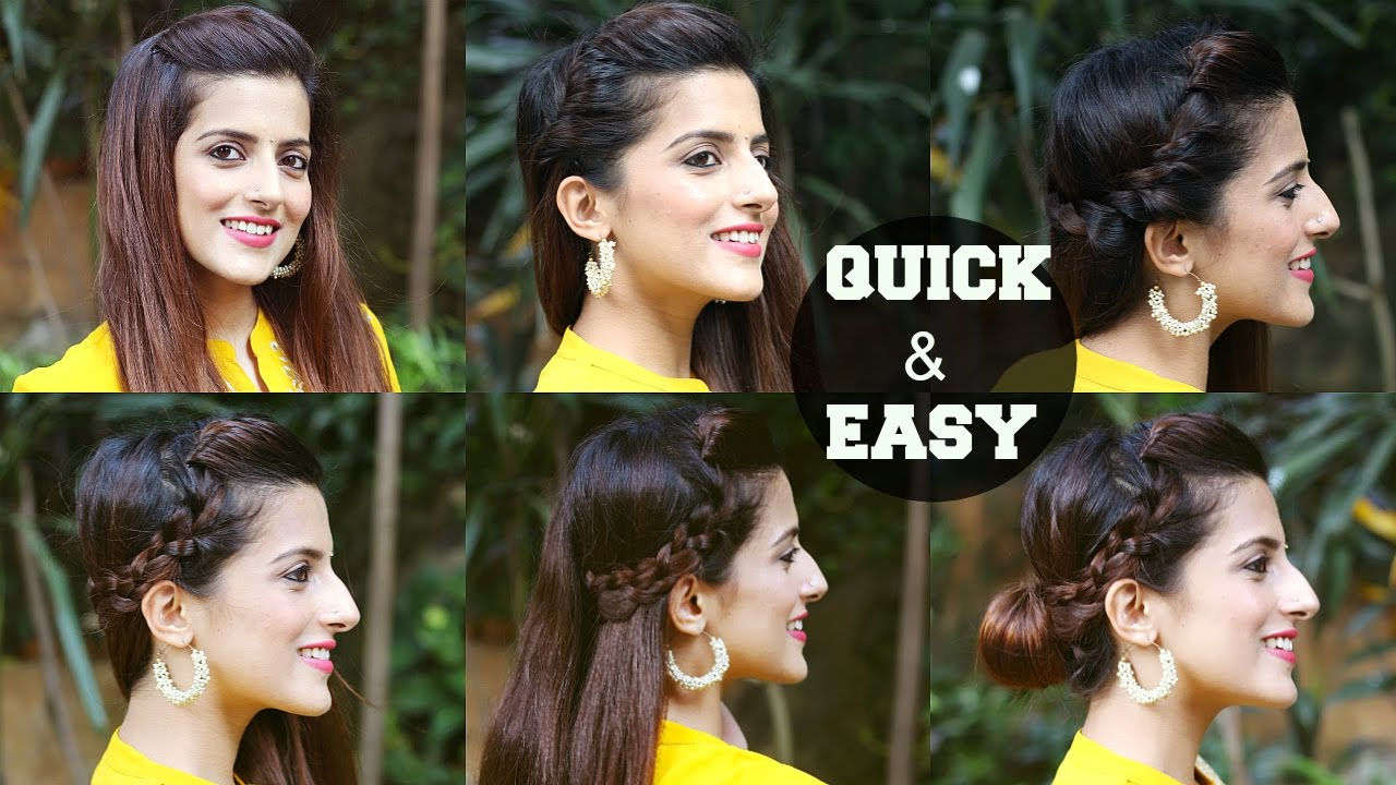 12 QUICK & EASY Indian Hairstyles For Medium To Long Hair / Perfect Side  Hair Poof - No Teasing