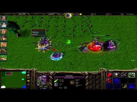 Warcraft 3 - Cenarius (The DemiGod) Vs All Night Elf Heroes Level 10