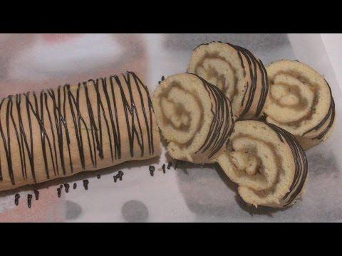 Бисквитный  рулет с яблоками.  Без рыхлителя.
