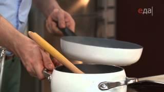 Овощной суп с хлебными рулетиками