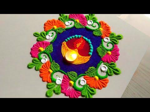 Very easy & attractive diya decor Diwali rangoli 2018