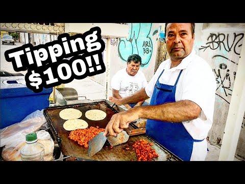 INSANE Mexico Street Food TACOS - BEST Juicy BARBACOA Tacos + TIPPING $100 DOLLARS To NICE Taquero!