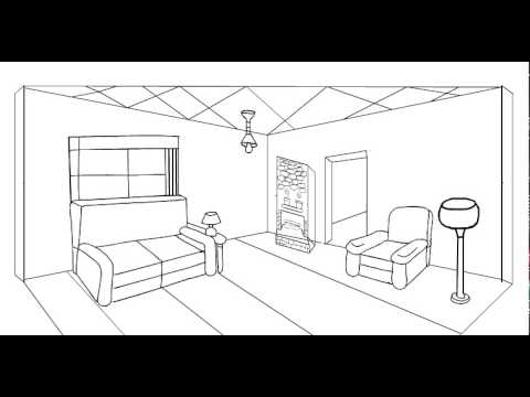 2 point perspective drawing living room  YouTube