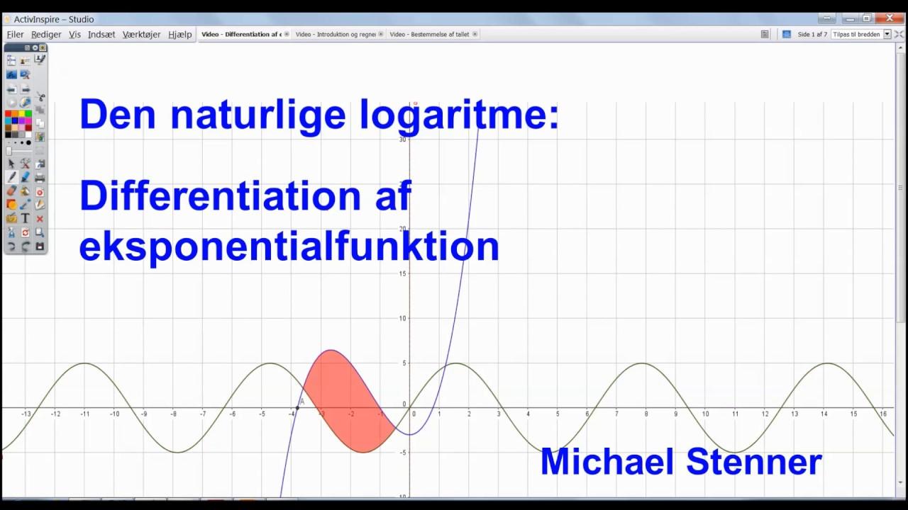 Den naturlige logaritme - Differentiation af eksponentialfunktion