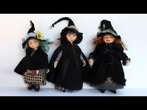 3 ВЕДЬМЫ ???? К Хеллоуину готовы! Кукольная МИНИАТЮРА Ручная работа Обзор КУКОЛ