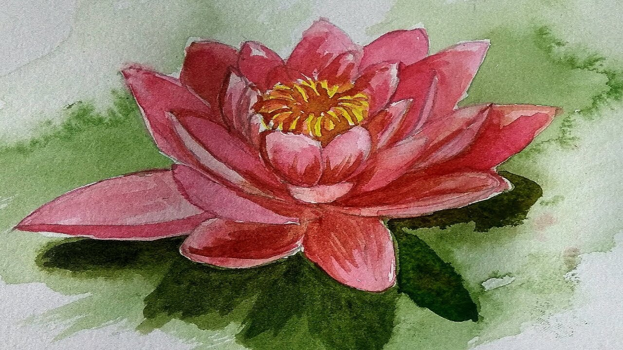 How To Draw And Paint Lotus Flower In Watercolor Step By Step For