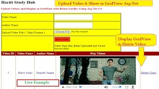 Upload Video and Display in GridView ( Delete Facility ) in Asp.Net C# | Hindi | Online Learning