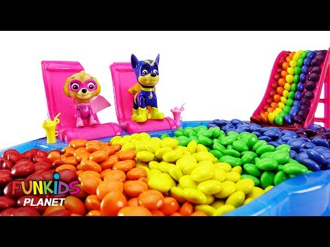 Thumbnail: Learning Colors Videos For Kids: Paw Patrol Sky and Chase Eat Colorful M&M's in Swimming Pool
