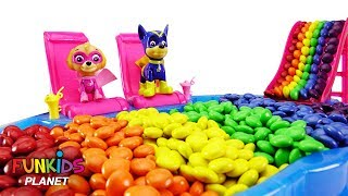 Learning Colors Videos For Kids: Paw Patrol Sky and Chase Eat Colorful M&M's in Swimming Pool