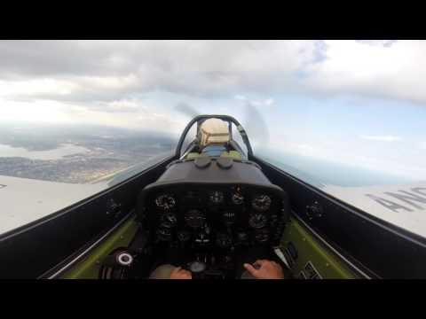 P-51 Mustang in flight over New Jersey Shore