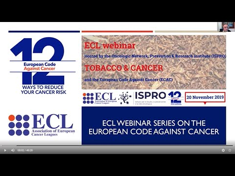 ECL & ISPRO Tobacco And Cancer Webinar - 20 November 2019
