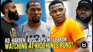 Kevin Durant, Russell Westbrook, James Harden & PG w/ LeBron Watching at Rico Hines Private Runs!!