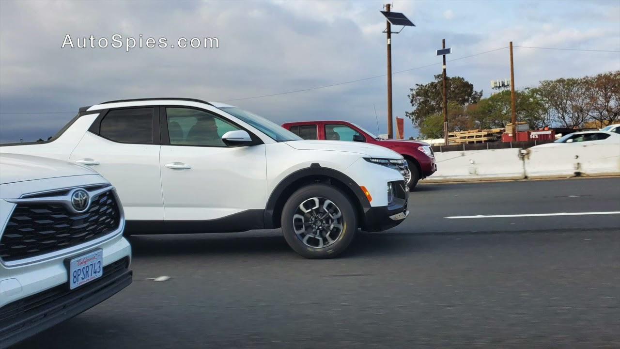 SPIED! First ON-ROAD Shots Of The 2022 Hyundai Santa Cruz Pickup!