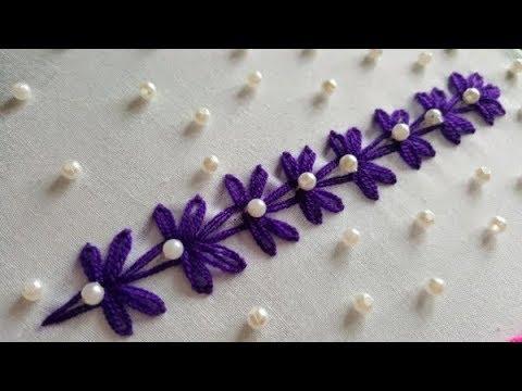 Hand Embroidery:Beautiful Border Design For Neck/kurti/kamiz# বর্ডার ডিজাইন!!!!