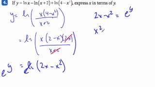 ib math hl log x in terms of y