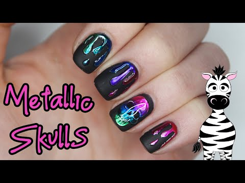Metallic Rainbow Skull and Drips Gel Nail Art Tutorial | Madam Glam thumbnail