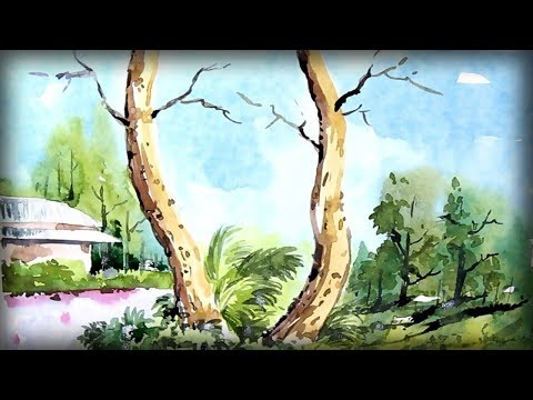 watercolor landscape painting – scenery drawing of nature