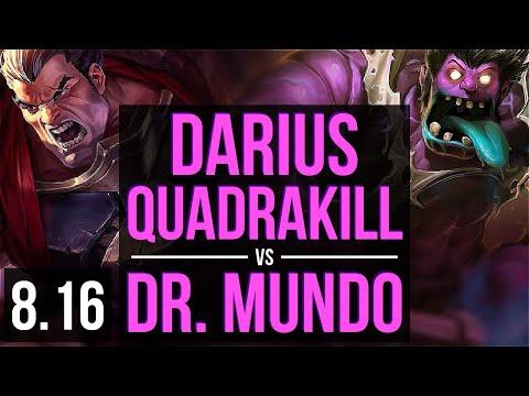 DARIUS Vs DR. MUNDO (TOP) ~ Quadrakill, KDA 16/1/2, Legendary ~ NA Master ~ Patch 8.16