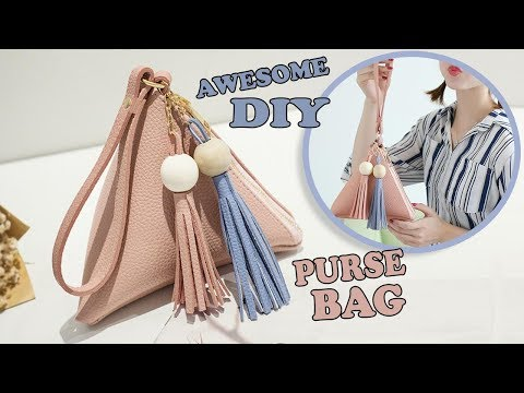 CUTE DIY TRIANGULAR PURSE BAG TUTORIAL // PU Lather Cute Pouch Zipper Bag