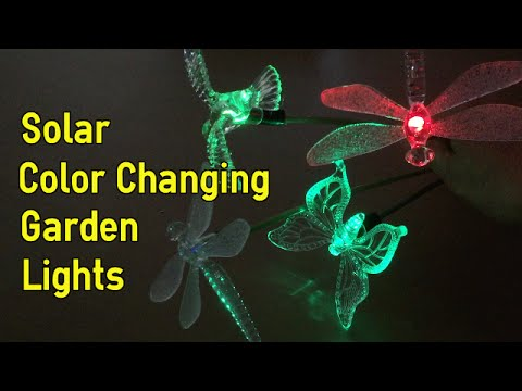 Solar Color Changing Outdoor Stake Lights (Hummingbird, Dragonflies and Butterfly) by Hallomall