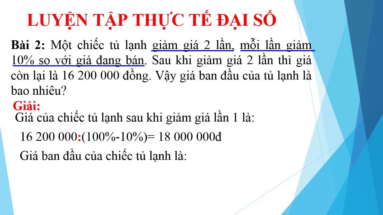 Toán 8 Đợt 5 Luyện tập toán THỰC TẾ ĐẠI SỐ cùng THCS Võ Thành Trang