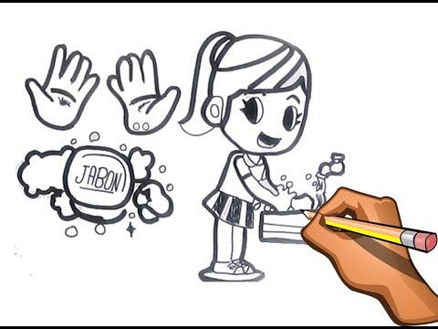 Dibujo De Lavado De Manos De Nina Para Evitar Coronavirus Youtube