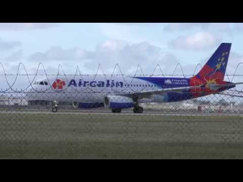 Colourful Aircalin A320 (F-OJSB) Spool and Takeoff Filmed 4K - Melbourne Airport Spotting