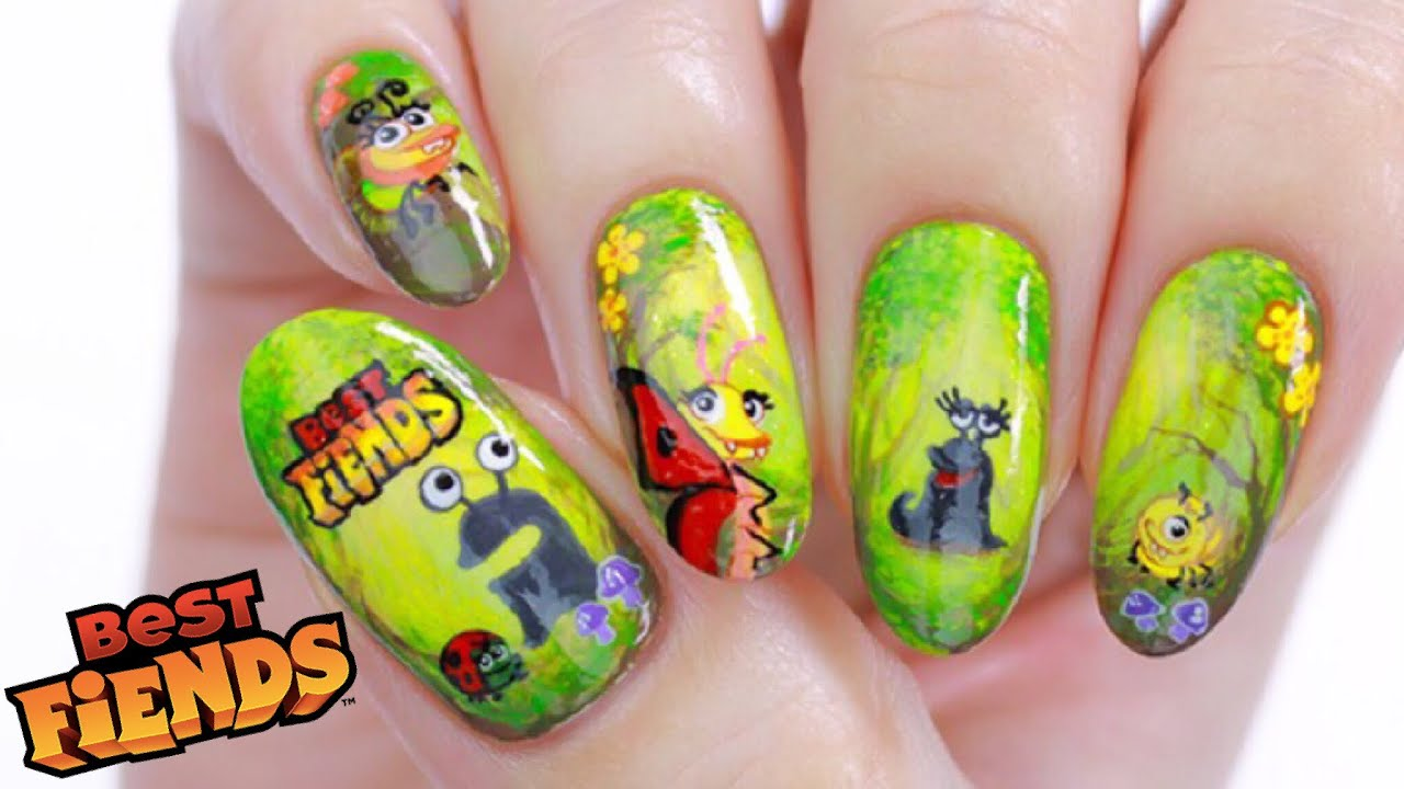 Best Fiends Nails + DIY Nail Decal Hack! - YouTube
