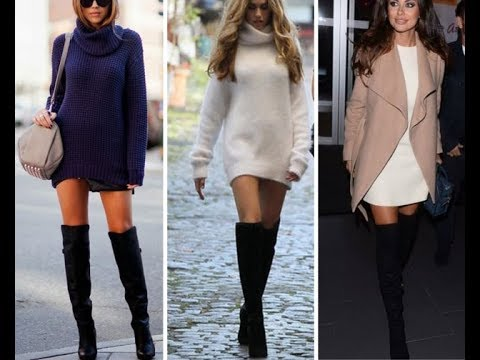 Warm Up With A Hot Sweater Dress Boots Fashion Fall Winter 2018