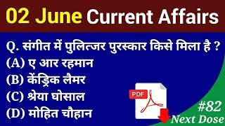 Next Dose #82   2 June 2018 Current Affairs   Daily Current Affairs   Current Affairs In Hindi