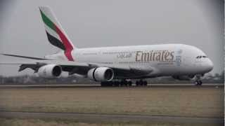 Emirates Airbus A380 Landing @ Schiphol Airport 16-03-2013